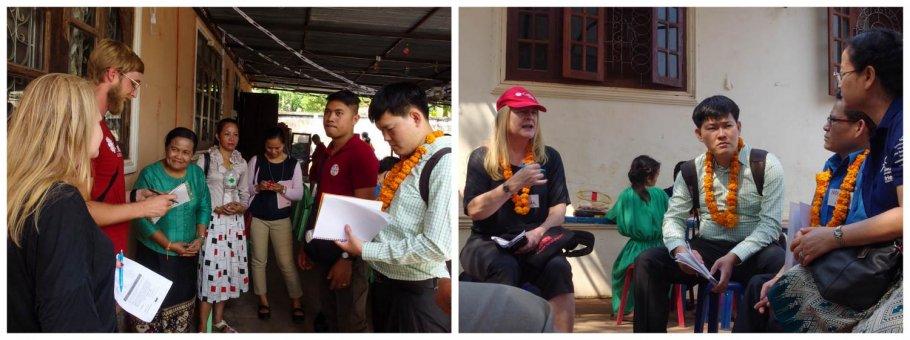 (Kiri) Peserta lokalatih berdiskusi tentang kegiatan KPA dengan Pimpinan LDPA di Laos. (Kanan) para peserta berdiskusi dengan Pimpinan Pusat Pelayanan Anak 'Peuen Mit'. (Foto: Y. Baskoro)