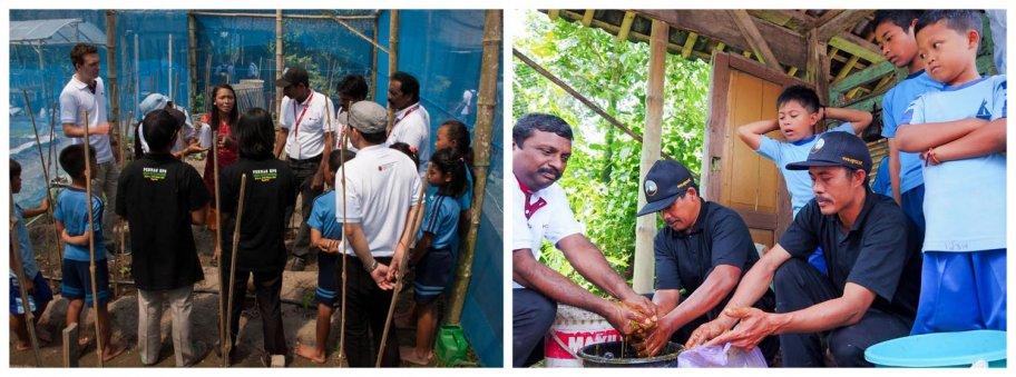 (Kiri) Para peserta mendapatkan penjelasan tentang sistem irigasi 'water drip' yang menggunakan selang. (Kanan) Dr. Haridas (kiri) bersama anggota Tim Sekolah Sawah membuat mikro organisme lokal (MOL)